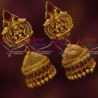 Red Stones Antique Temple Jewellery Jhumka Earrings Latest Imitation Designs Online