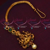 Antique Temple Laxmi God Jewellery Maang Tikka Matte Reddish Plated Low Price Designs Online