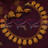Temple Laxmi God Engraved Necklace Set Ruby Stones Matching Jhumka Earrings Online