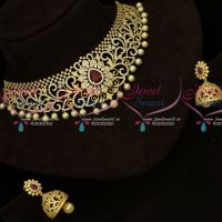 Sparkling AD Stones Choker Necklace Matching Jhumka Gold Plated Jewellery Designs
