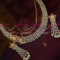Stylish AD Marquise Stones Jewelry Single Side Floral Design Long Earrings Online