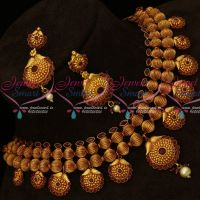 Kharbuja Beads Antique Reddish Broad Fashion Jewellery Set Latest Party Wear Necklace Online