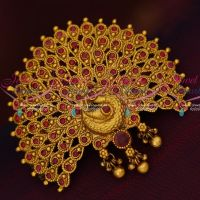 Peacock Broad Design Ruby Stones Fancy Hair Clip Womens Accessory Online