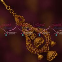Ruby Stones Jhumka Design Latest Short Maang Tikka Matte Antique Jewelry Online