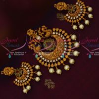 Latest Low Price AD Matte Gold Plated Imitation Jewellery Pendant Set Shop Online