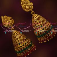 Double Layer Red Green Bead Danglers Nakshi Jhumka Earrings Latest Design Online