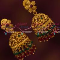 Floral Design Fancy Bead Danglers Antique Jhumka Earrings Latest Imitation Jewelry Online