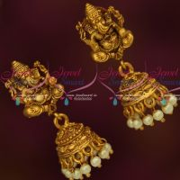 Floral Design Fancy Bead Danglers Antique Jhumka Earrings Latest Imitation Jewelry Online  Height of the earrings is 61 mm and width is 24 mm.Earrings size is big. Please check the sizes before buying. This product is not for customers looking for small size earrings.  Weight of each jhumka is 10 grams Earrings lock is press or push type. Base metal is copper and brass mix alloy and plating colour is reddish matte finish antique gold.  Photograph shown is magnified and not actual size. Please check the dime