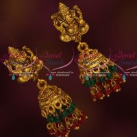 Temple Vinayagar Design Traditional Nagas Jhumka Earrings Red Green Drops Imitation Jewelry