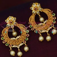 AD Multi Colour Stones Offer Price Chand Bali Earrings Latest Design Matte Gold Finish