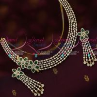 Emerald Green Stylish AD Marquise Stones Jewelry Single Side Floral Design Long Earrings Online