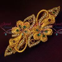 Latest Floral Design Hair Clip Matte Gold Plated Multi Colour AD Stones Jewellery