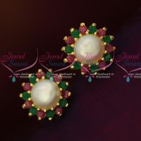 Ruby Emerald Fresh Water Pearls Small Size Traditonal Earrings Shop Online