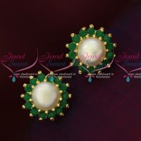 Emerald Green Fresh Water Pearls Small Size Traditonal Earrings Shop Online