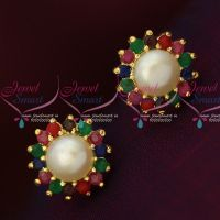 Multi Colour AD Fresh Water Pearls Small Size Traditonal Earrings Shop Online