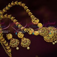 Ruby Emerald Latest Light Gold Finish Semi Precious Haram Fashion Jewellery Online