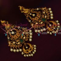 Matte Gold Finish Peacock Design Tops Long Layer Earrings Latest Fashion Jewelry Low Price Online