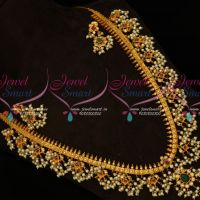 Gutta Pusalu Haram Matte Finish Traditional South Indian Jewelry Ruby Emerald Stones Latest