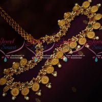 Pearl Danglers Temple Coin Laxmi God Engraved Hip Chain Kemp Red Green Stones