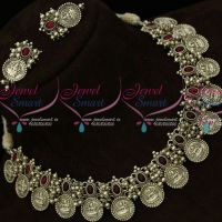 Silver Oxidised Temple Coin Necklace Kemp Red Stones Shop Online