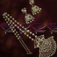 Matte Antique Silver Plated Ball Chain Red Green Stones Matching Jhumka Fashion Jewellery Online