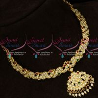 AD South Indian Attiga Thick Metal Handmade Short Necklace Traditional Jewelry