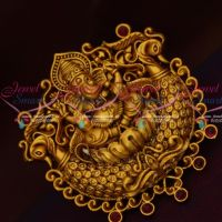 Lord Ganapathy Temple Jewellery Saree Brooches Casting Design Matte Gold Plated Online