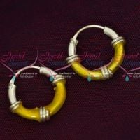 92.5 Silver Jewellery Small Bali Hook Yellow Earrings Kids Daily Wear Jewelry Online