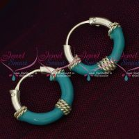 92.5 Silver Jewellery Small Bali Hook Blue Earrings Kids Daily Wear Jewelry Online