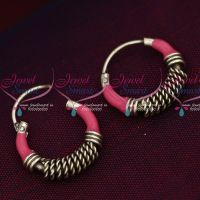 92.5 Silver Jewellery Small Bali Hook Pink Earrings Kids Daily Wear Jewelry Online