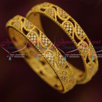 Sparkling AD Stones Gold Plated Bangles 2 Pieces Set Stones Real Look Finish Online