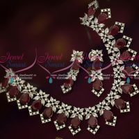 Ruby White Marquise AD Stones Silver Oxidised Jewellery Set Online