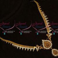 AD White South Indian Fancy Gold Plated Daily Wear Necklace Set Shop Online