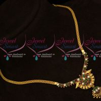 AD Multi Color Stones Daily Wear Chain Pendant Gold Covering Elegant Jewellery Set Online