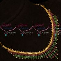 Marquise Ruby Emerald Stones South Indian AD Fancy Gold Covering Jewellery Set Online