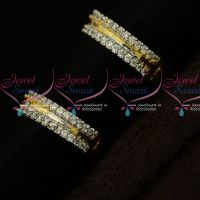 Gold Silver Two Tone Plated AD Stones Earrings Latest Fashion Jewelry Online