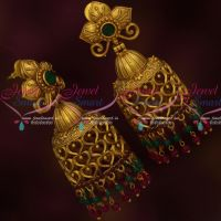Floral Design Matte Antique Big Size Bead Drops Jhumka Earrings