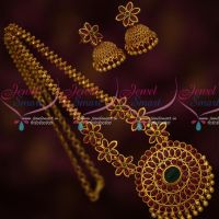 Real Kemp Stones Floral Design Stone Chain Gold Plated Matching Jhumka Earrings Latest Imitation