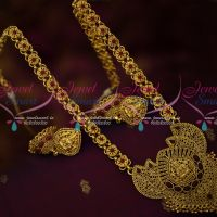 Antique Gold Plated Laxmi God Design Nagas Floral Kemp Chain Haram South Traditional Temple Jewellery Online