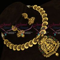 Temple Nagas Necklace Mango Design Lakshmi God Antique Gold Plated Kemp Red Green South Indian Jewellery