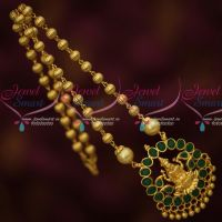 Green Stones Temple Beaded Jewelry Gold Plated Low Price Traditional Design Online