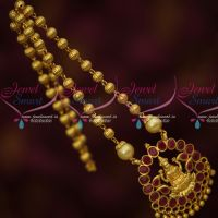 Ruby Red Stones Temple Beaded Jewelry Gold Plated Low Price Traditional Design Online
