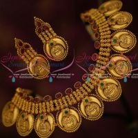 Chandralakshmi Temple Coin Necklace Intricate Work Matte Finish Jewellery Set