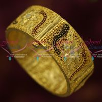 Gold Plated Meenkari Broad Screw Open Single Piece Bangle Rich Look Imitation Collections Online