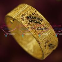 Gold Plated Enamel Color Broad Screw Open Single Piece Bangle Collections Online