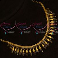 Sapphire Blue AD Stones Kerala Style Fancy Gold Covering Short Necklace