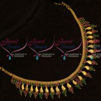 Ruby Emerald AD Stones Kerala Style Fancy Gold Covering Short Necklace