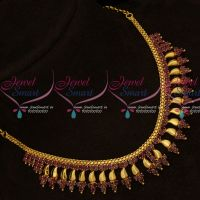Ruby AD Stones Kerala Style Fancy Gold Covering Short Necklace