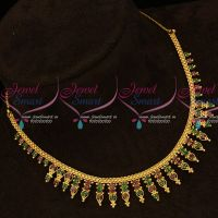 Kerala Style Ruby Emerald Stones Gold Covering South Indian Necklace Online