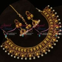 Kharbuja Beads Fancy Broad Design Antique Gold Plated Necklace Jhumka Tikka Online